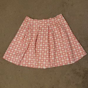 Pink and white pleated skirt